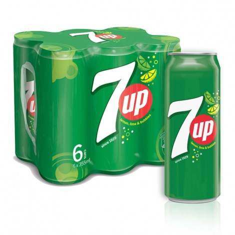 7UP, Carbonated Soft Drink, Cans, 355 ml x 6