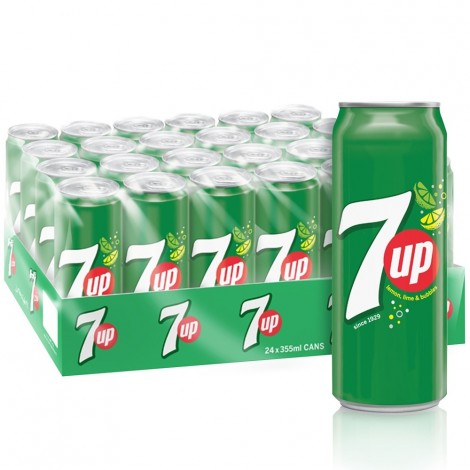 7UP, Carbonated Soft Drink, Cans, 355 ml x 24