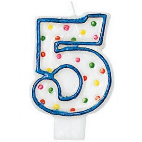 Amscan Number 5 Polka Dots Birthday Candle - 176005, White/Blue
