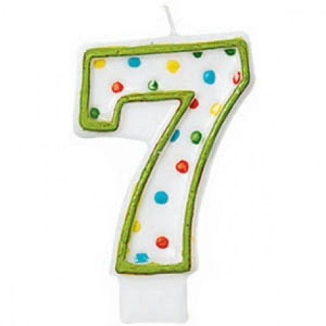 Amscan Number 7 Polka Dots Birthday Candle - 176007, White/Green