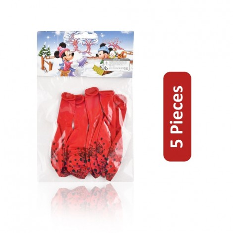 Printed Balloons Set - Red, 5 Pieces