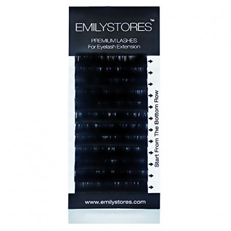 EMILYSTORES Eyelash Extensions 0.20mm Thickness C Curl Length 15mm Sil
