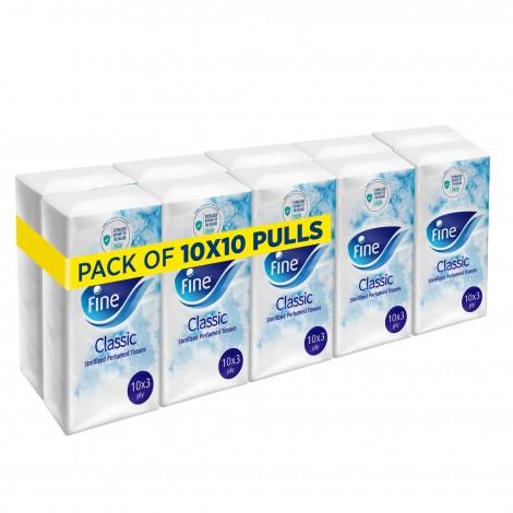 Fine Mixed Perfumed 3 Ply Pocket Facial Tissues - 10 x 10 Pieces