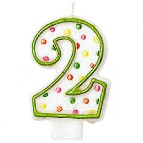 Amscan Number 2 Polka Doted Birthday Candle - 176002, Multi Color