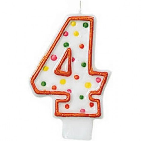 Amscan Number 4 Polka Doted Birthday Candle - 176004, Multi Color
