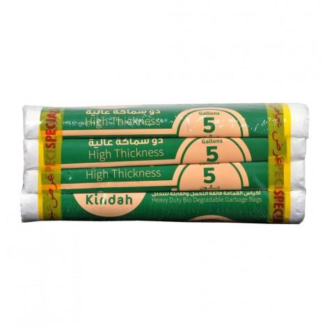Kindah Offer pack - White Garbage Bags. Bio 46x52 cm (5 Gallon) 1x4 Roll