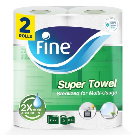 Fine 2 x More Absorbent Kitchen Towel Rolls - 2 x 60 Sheets