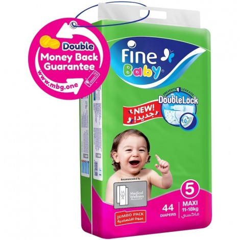 Fine Jumbo Pack Max Baby Diapers - Size 5, 44 Pieces