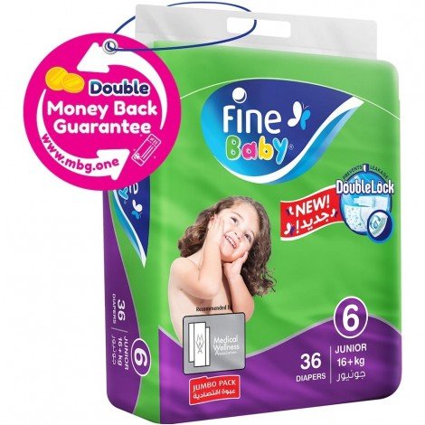 Fine Junior Pack Max Baby Diapers - Size 6, 38 Pieces