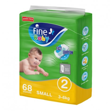 Fine Baby Size 2 Small Diapers - 68 Pieces