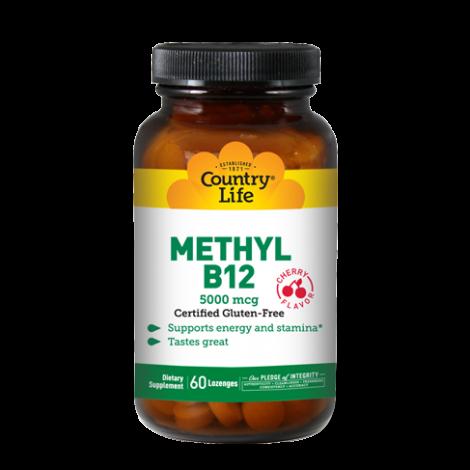 Country Life Methyl B12 5000 mcg Cherry Flavor Lozenges 60's