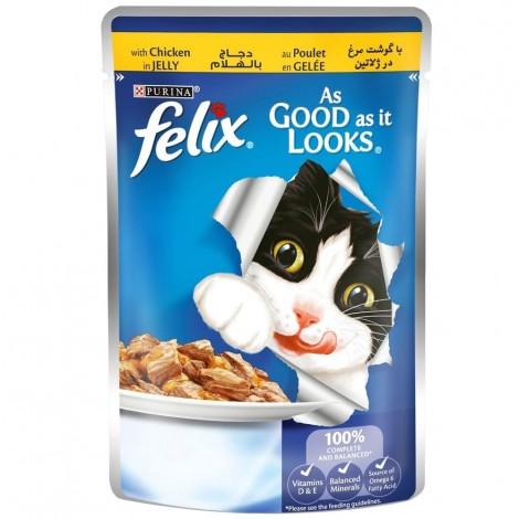 FELIX As Good as it Looks Chicken in Jelly Wet Cat Food Pouch 100g