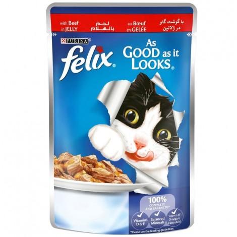 FELIX As Good as it Looks Beef in Jelly Wet Cat Food Pouch 100g