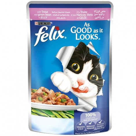 FELIX As Good as it Looks with Trout and Green Bean Wet Cat Food Pouch 100g