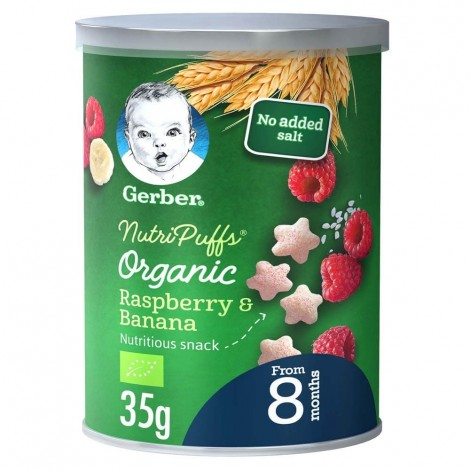 GERBER Organic NutriPuffs Raspberry & Banana  35g  Can