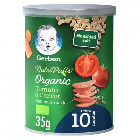 GERBER Organic NutriPuffs Tomato & Carrot  35g  Can