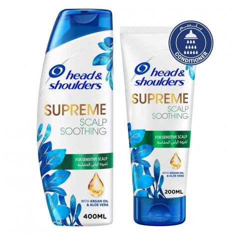 Head & Shoulders Supreme Scalp Soothing Anti-Dandruff with Argan Oil and Aloe Vera Shampoo 400ml with Conditioner 200ml