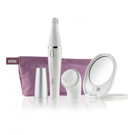 Braun Face 830 Premium Edition - facial epilator & facial cleansing brush with micro-oscillations - including a lighted mirror and beauty pouch
