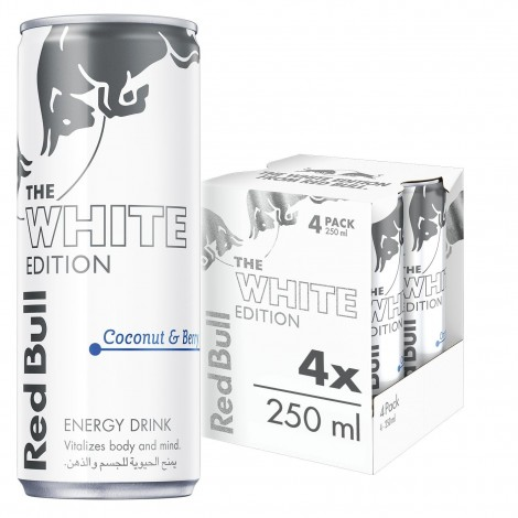 Red BULL Energy Drink, Coconut Berries, White Edition, 4x250ml