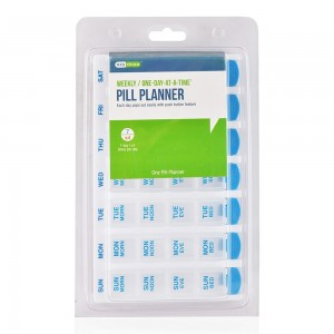 Ezy-Dose Weekly One-Day-At-A-Time Pill Planner - Clear/Blue