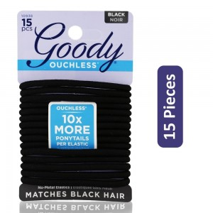 Goody Ouchless Black Elastic Hair Band - 15 Pieces