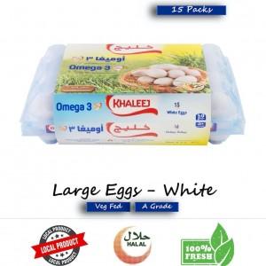 Khaleej, Fresh Eggs, White, Omega 3 15's