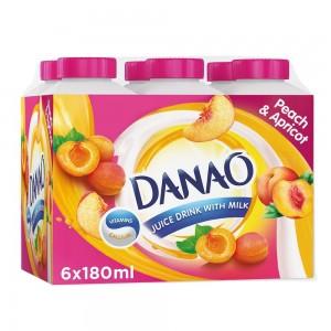 Danao, Juice Drink with Milk, Peach & Apricot, 180ml x 6 pack