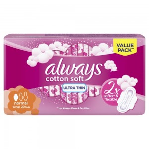 Always Ultra Cotton Soft Sanitary Pads With Wings, Normal, 20 Count