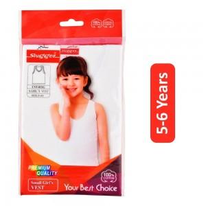 Sluggen Cotton Vest for Girls - White, 5-6 Years