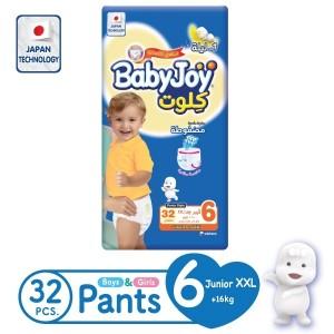 BabyJoy Culotte Pants Diaper, Size 6 Junior XXL, Jumbo Pack, 16 +, Count 32