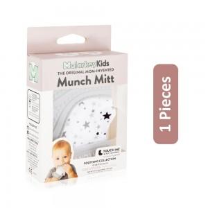 Munch Mitt Baby Teething Mitten - White/Grey, 1 Pieces