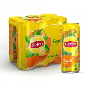 Lipton Ice Tea Peach, Non-carbonated Iced Tea Drink, Cans, 320 ml, 5+1 Pack