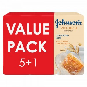 JOHNSON'S, Body Soap, Vita-Rich, Smoothies, Comforting, 125g, Pack of 5 + 1Free