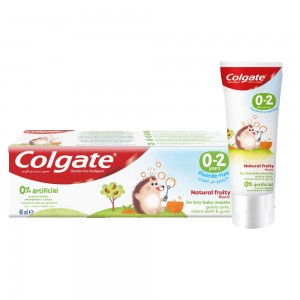 Colgate Kids Toothpaste Natural Fruity Flavour, Baby Toothpaste 0-2 years, 0% Artificial Preservatives, Fluoride-free - 40ml