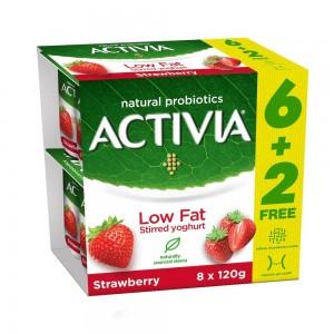 Activia, Stirred Yoghurt, Low Fat, Strawberry, 120g x 8 pack (6 + 2Free)
