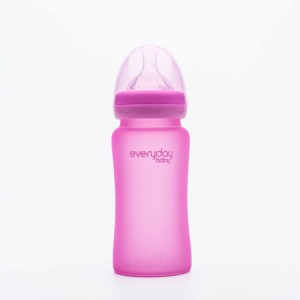 Everyday Baby - Glass Heat Sensing Baby Bottle-240ml pink