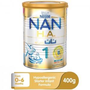Nestle NAN HA Stage 1 Hypoallergenic Infant Formula Milk Powder Tin, 0-6 Months - 400g