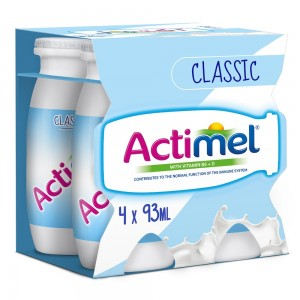 Actimel Classic Plain Dairy Low Fat Drink 93mlx4