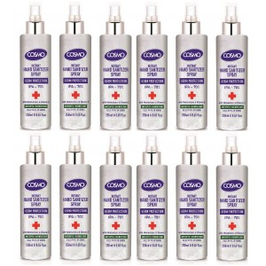 Cosmo Instant Hand Sanitizer 250ML Spray PACK OF 12, Antiseptic/Disinfectant, IPA 70%, Moisturizers, Vitamin E