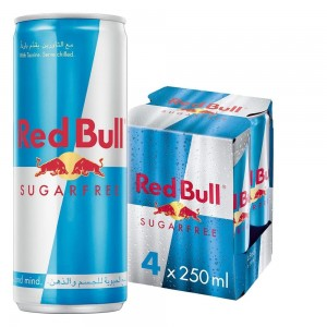 Red Bull Energy Drink, Sugar free, 250ml, (4 pack)