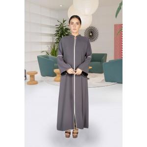 Dark grey heavy crepe front close abaya with seam pocket