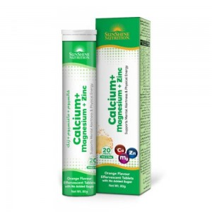 Sunshine Nutrition Calcium + Magnesium + Zinc Effervescent Tablets - 20 Tablets, 80 g