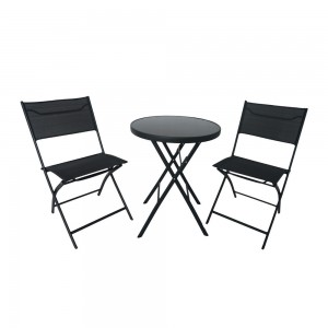 Campmate Glass Top Table + 2 Chair Set