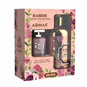 Hamidi Oud Rose Body Lotion 500ml + Water Perfume 50ml