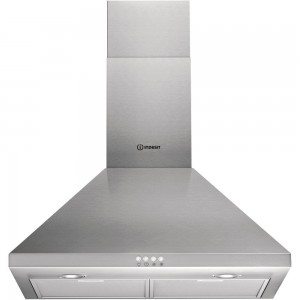 Indesit 60cm traditional chimney hood, Air Extraction only, 416 m3/h, 140W, Washable Aluminium filter / Carbon Filter Optional, LED lamps, Stainless steel.