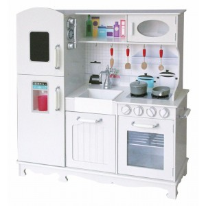 White Wooden Kitchen for Kids with Tools and Sound with Fixing