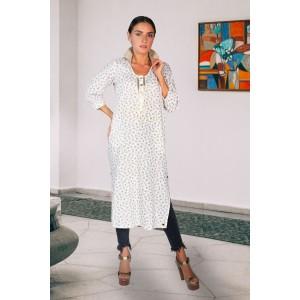 White amber print pure linen long shirt styled contemporary kurta with collar rib